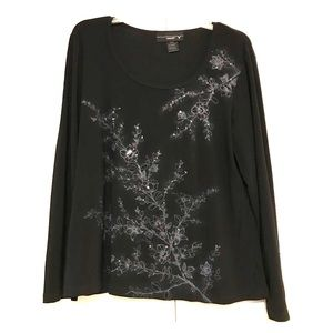 Venezia Black/Gray  Embellished Pattern Blouse